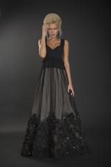 Blond lady in black dress 02