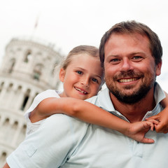 Travel - Family and Leaning Tower in Pisa, Italy