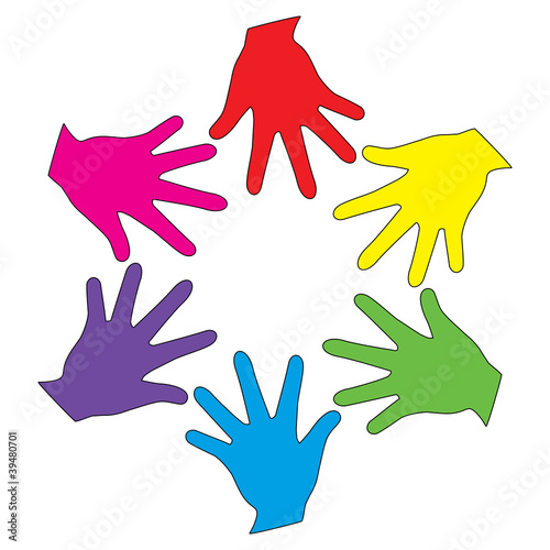 Vector colorful heands