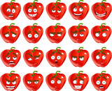 Vector cute cartoon red Bulgarian pepper smile