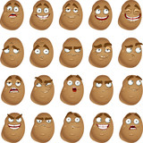 Vector cute cartoon potatoes smile with many expressions