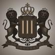 Vintage emblem: lions hold the shield, crown, banner.