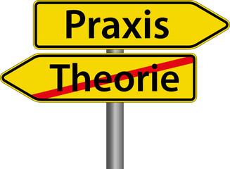 Praxis - Theorie - Schild Zeichen