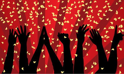 Vector festive background with silhouette of hands