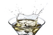 Splashing Martini isolated on white background