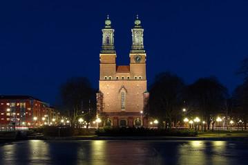 Night view on Cloisters Church (Klosters kyrka) in Eskilstuna