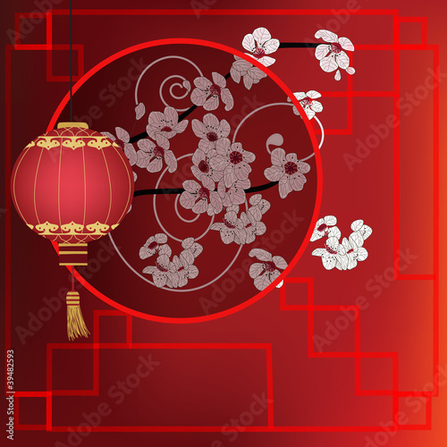 oriental background with red lantern