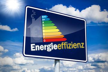 Hinweisschild mit Energieeffizienz