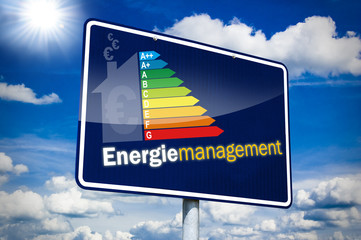 Hinweisschild mit Energiemanagement