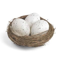 Tre uova di quaglia in un piccolo nido
