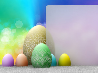 Easter - template design; easter eggs and copy space