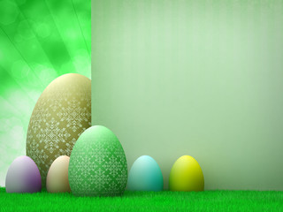 Easter template design - easter eggs and copy space