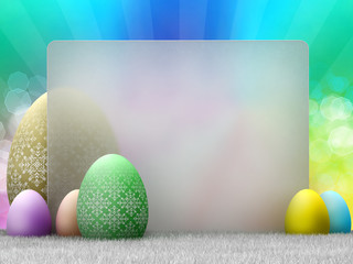 Happy Easter - easter eggs and copy space - template design