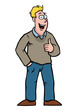Man in casual clothing smiling and holding his thumbs up