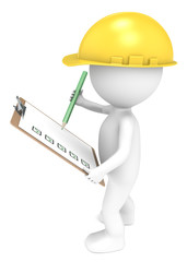 3D little human character The Builder holding a Clip Board