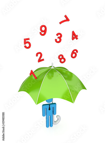 big umbrella under the rain of numbers.