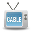 "Cartoon-style TV Icon with ""Cable"" wording on screen"