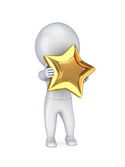 3d small person with a golden star in a hands.