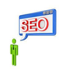 3d small person and PC window with a word SEO.