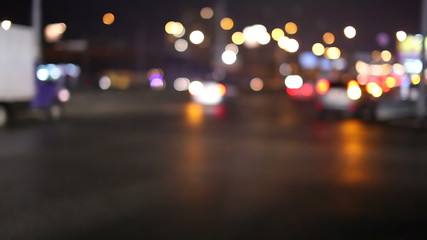 Night city traffic. Time lapse