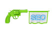 Green revolver shooting a blue word SEO.