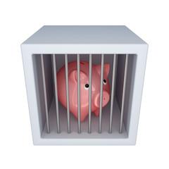 Pink piggy bank in a jail.