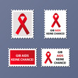 anti aids vector stamp set eps illustration