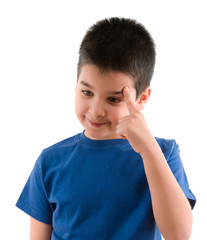 Cute child thinking with hand on his head