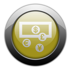 "Yellow Metallic Orb Button ""Currency Exchange"""
