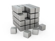 Metal cubes on a white background