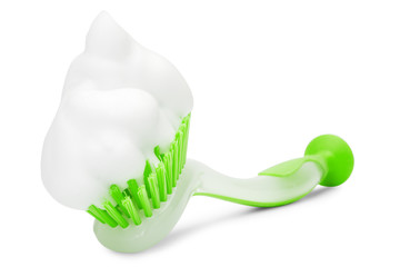 green cleaning brush with white foam