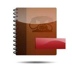 Icono agenda telefonica 3d con simbolo menos