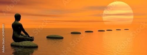 In de dag Oranje eclat Meditating steps to the sun