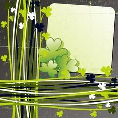 Trifoglio Cartolina St Patrick's Day Shamrock Grunge Card-Vector
