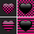 Set of Four Glossy Emo Hearts. Pink and Black Chess and Stripes