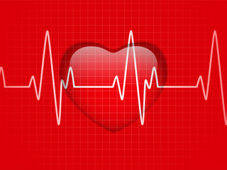 Glossy Cardiogram Glass Red Heart