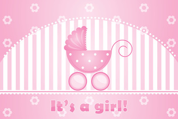 "Vector ""it's a girl"" pink background"