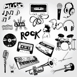 Fototapety Vector Music Elements Hand Drawn