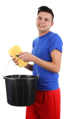 A guy with a bucket and a sponge