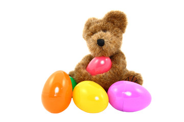 Teddy Bear With Colorful Easter Eggs