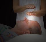 Healer sensing aura levels, soft blur poster