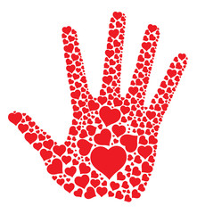 print hand with hearts
