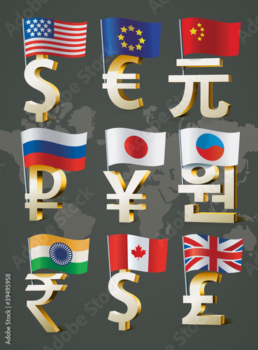 Golden signs of world currencies.