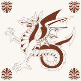 Vintage medieval dragon (Wyvern) poster
