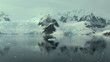 antarctic landscape with calm sea