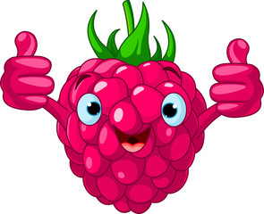 Cheerful Cartoon Raspberry character