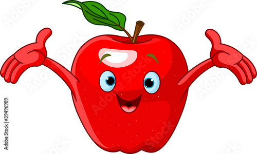 Cheerful Cartoon Apple character