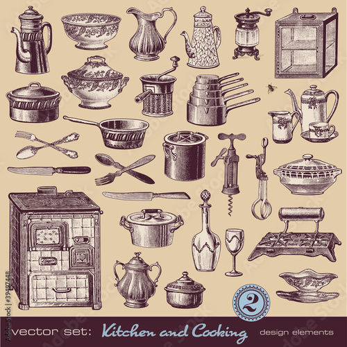 vintage cooking illustrations,