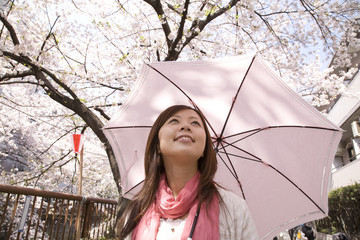 桜を見上げる女性