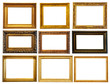 Set of  horizontally gold frames